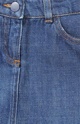 Мини-юбка из денима с вышивкой и оборкой | Фото №3