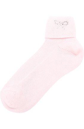 Детские хлопковые носки со стразами CATYA розового цвета, арт. 721539 | Фото 1