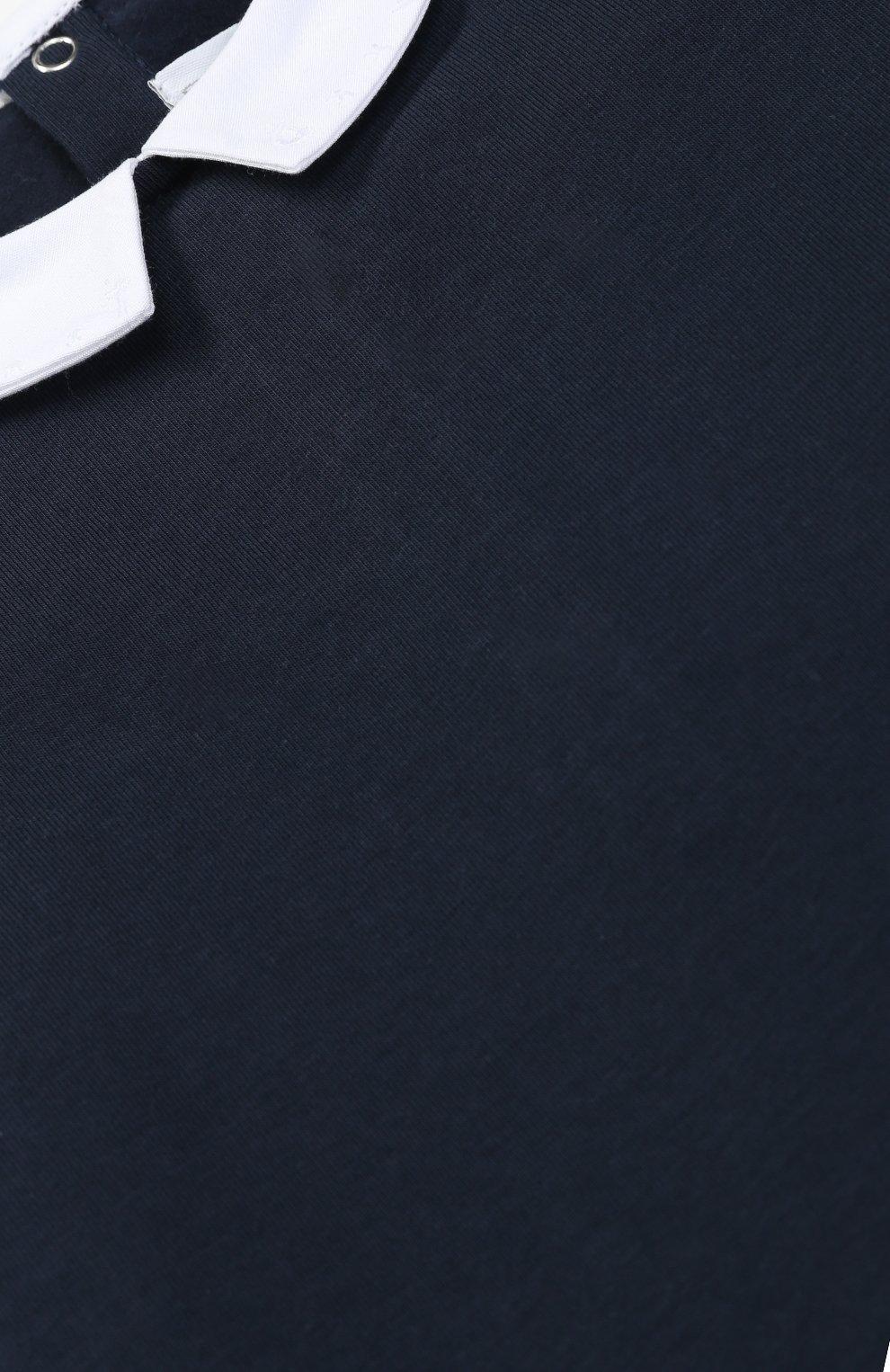 Детское хлопковое боди с контрастным воротником TARTINE ET CHOCOLAT синего цвета, арт. TK11111/2A-3A | Фото 3