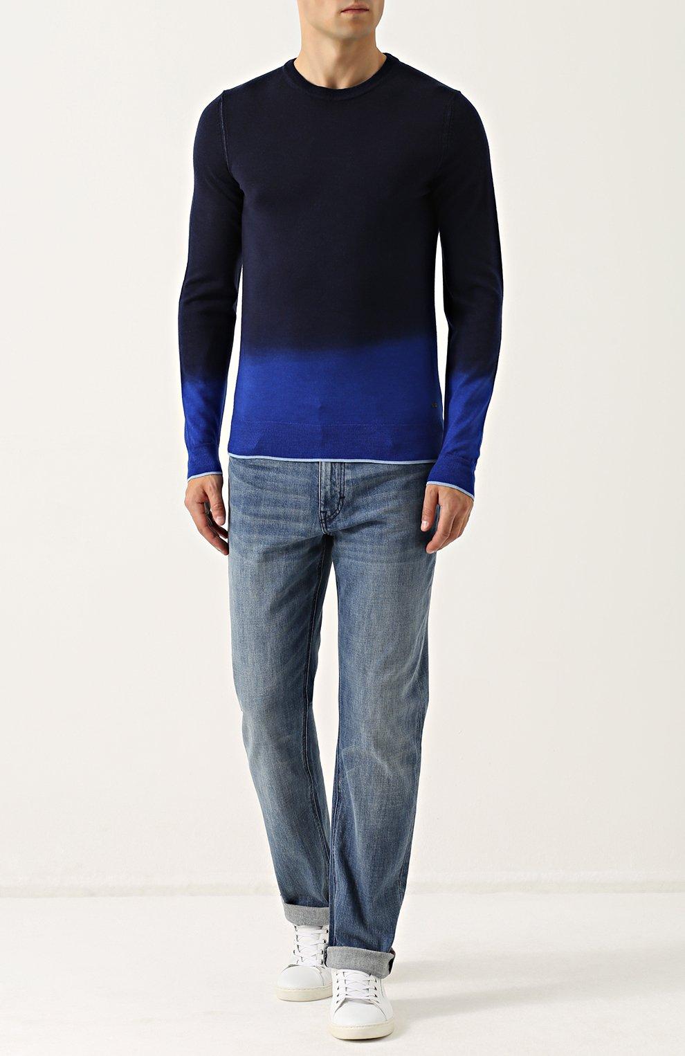 Джемпер из смеси шерсти и шелка с градиентным рисунком   Фото №2