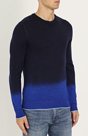 Джемпер из смеси шерсти и шелка с градиентным рисунком   Фото №3