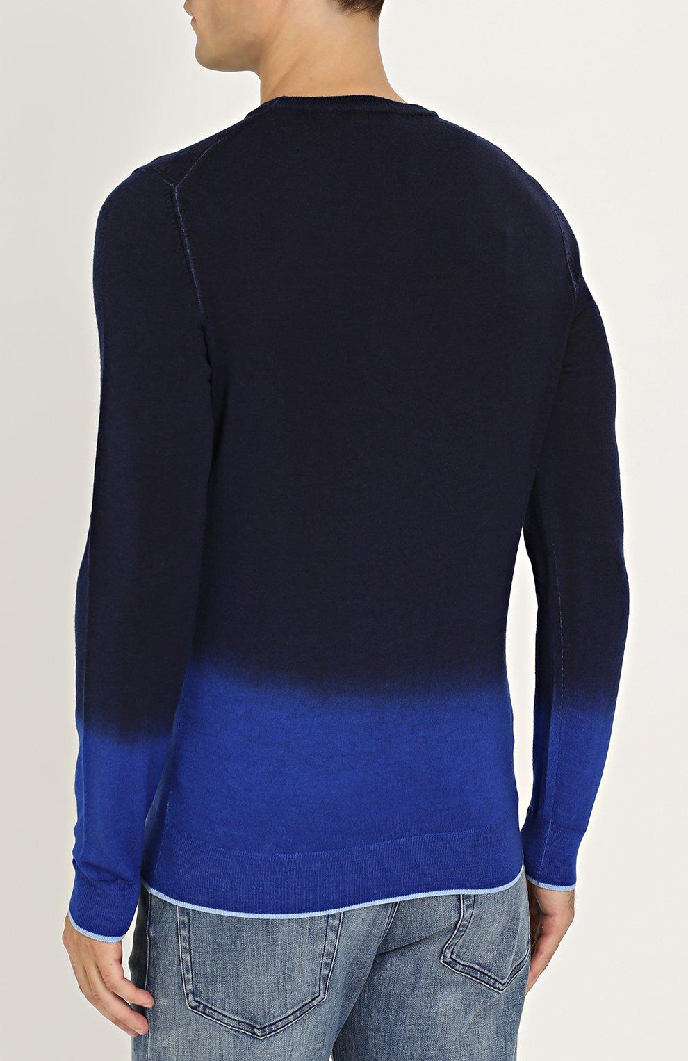 Джемпер из смеси шерсти и шелка с градиентным рисунком   Фото №4