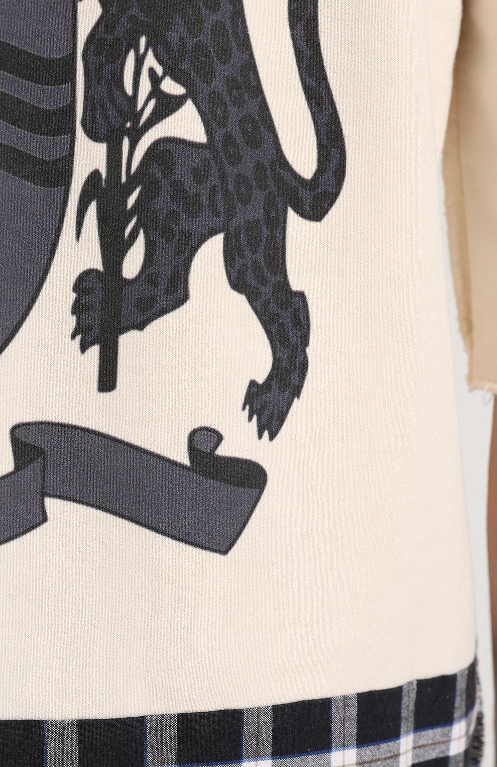 Хлопковое худи с принтом и значком   Фото №5
