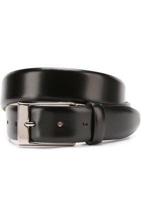 Кожаный ремень с металлической пряжкой Pal Zileri черный | Фото №1