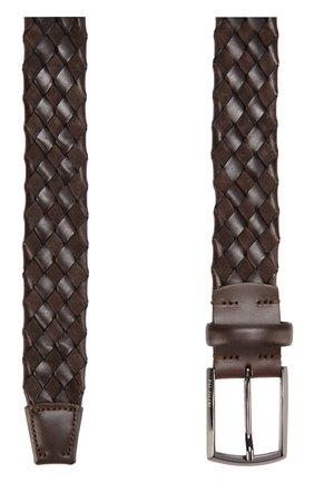 Кожаный ремень с металлической пряжкой Pal Zileri коричневый   Фото №1