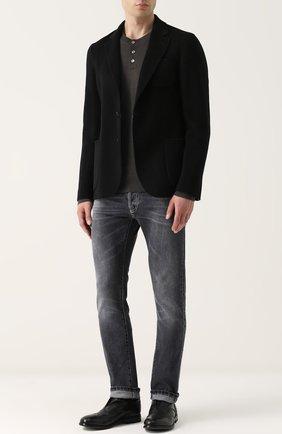 Джемпер из шерсти тонкой вязки с воротником на пуговицах Dolce & Gabbana темно-серый | Фото №2