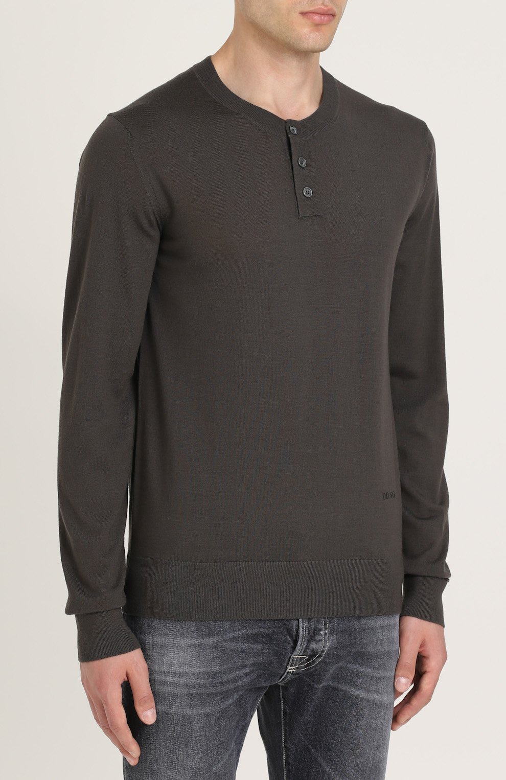 Джемпер из шерсти тонкой вязки с воротником на пуговицах Dolce & Gabbana темно-серый | Фото №3
