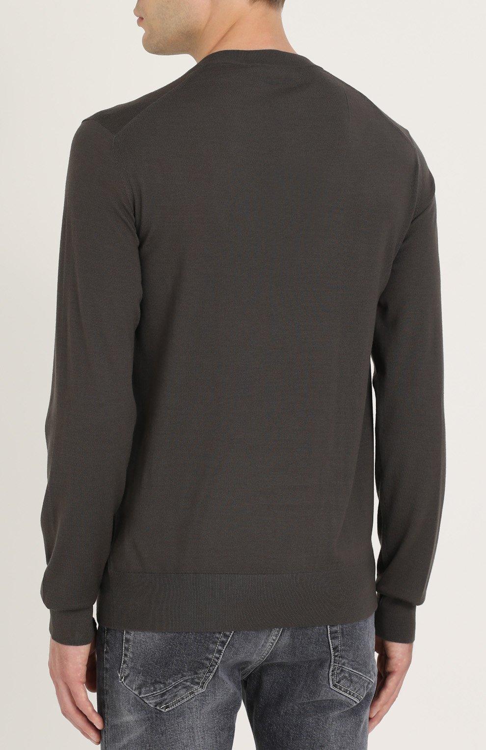 Джемпер из шерсти тонкой вязки с воротником на пуговицах Dolce & Gabbana темно-серый | Фото №4