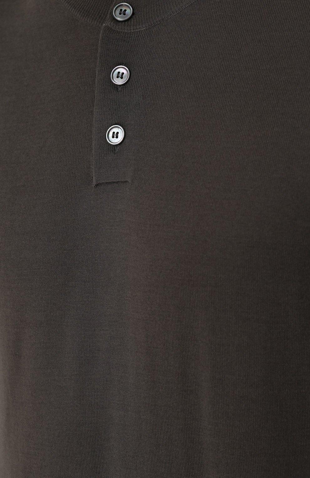 Джемпер из шерсти тонкой вязки с воротником на пуговицах Dolce & Gabbana темно-серый | Фото №5