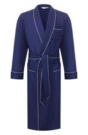 Мужской хлопковый халат с поясом DEREK ROSE темно-синего цвета, арт. 5505-L0MB006 | Фото 1