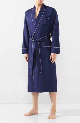 Мужской хлопковый халат с поясом DEREK ROSE темно-синего цвета, арт. 5505-L0MB006 | Фото 2