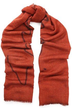 Мужской шарф из смеси кашемира и шелка с необработанным краем GIORGIO ARMANI оранжевого цвета, арт. 745209/7A115 | Фото 1