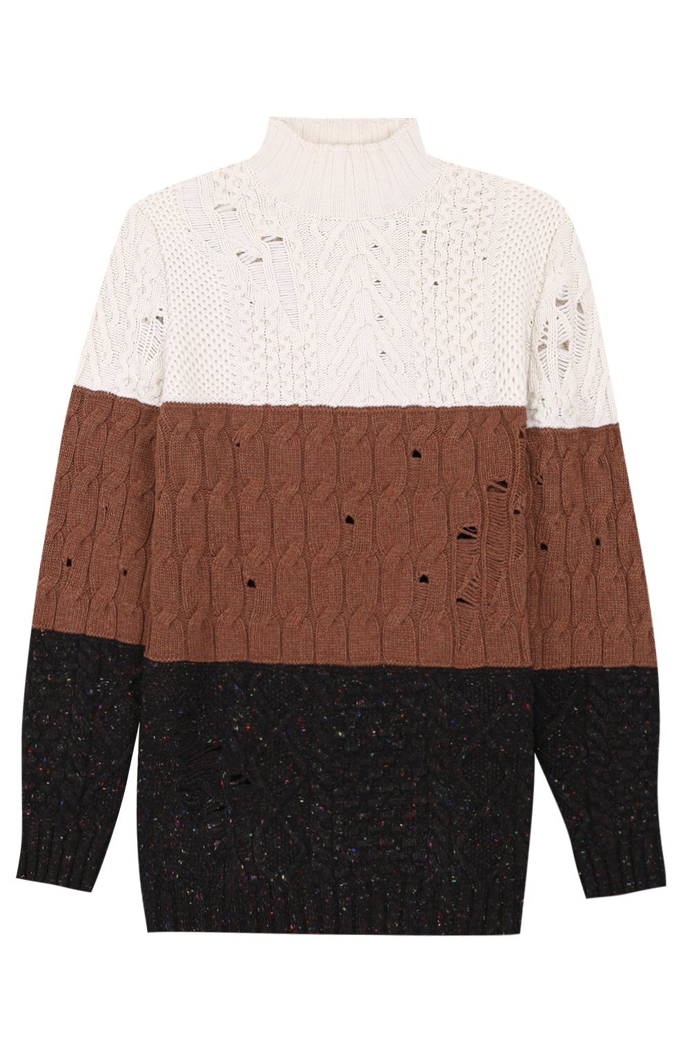 Удлиненный свитер из смеси шерсти и кашемира фактурной вязки | Фото №1