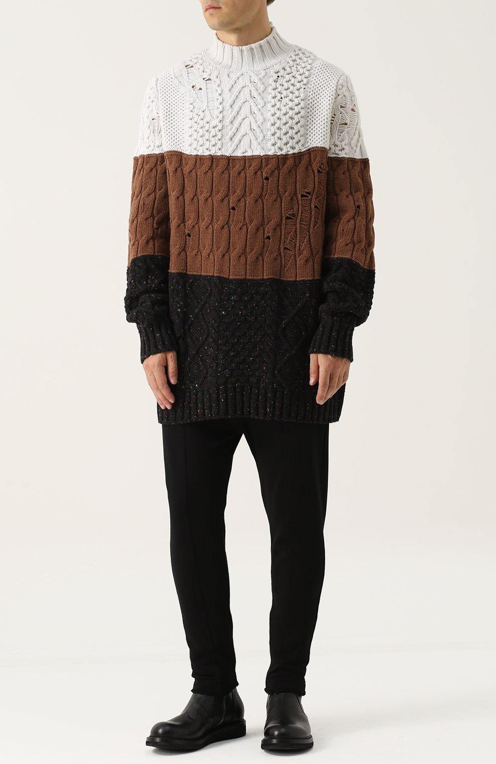 Удлиненный свитер из смеси шерсти и кашемира фактурной вязки | Фото №2