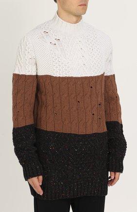 Удлиненный свитер из смеси шерсти и кашемира фактурной вязки | Фото №3