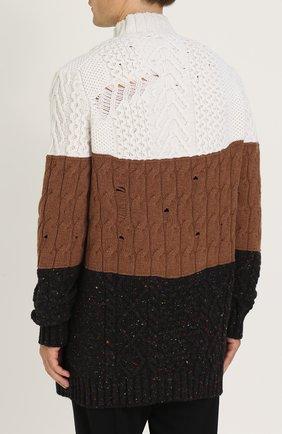Удлиненный свитер из смеси шерсти и кашемира фактурной вязки | Фото №4
