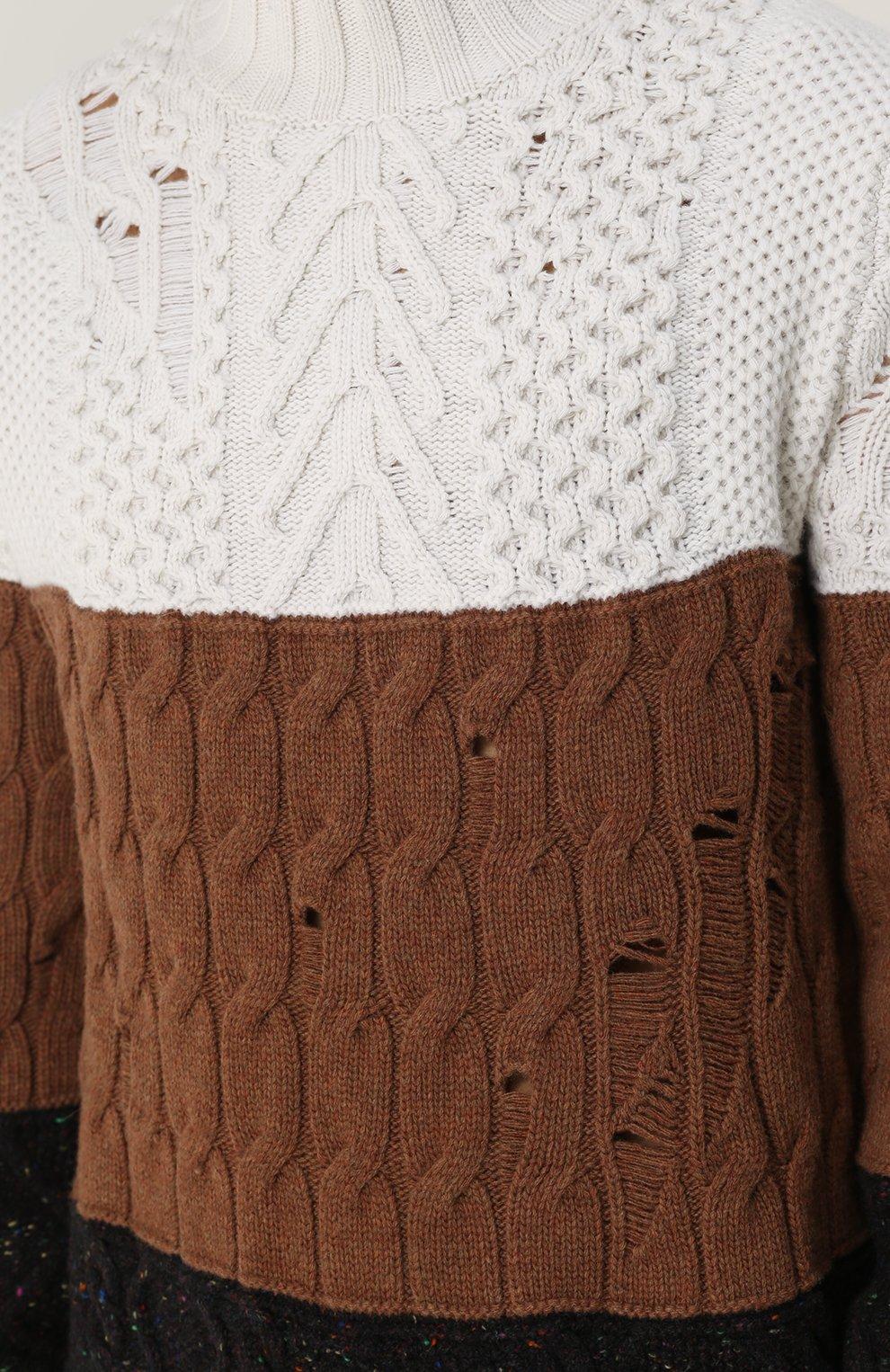 Удлиненный свитер из смеси шерсти и кашемира фактурной вязки | Фото №5