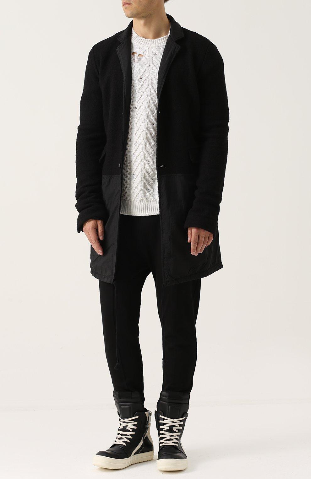 Шерстяной свитер фактурной вязки   Фото №2