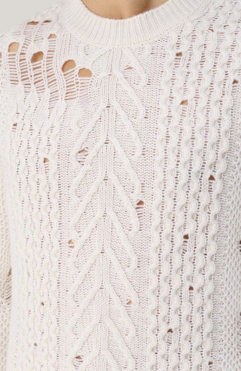 Шерстяной свитер фактурной вязки   Фото №5