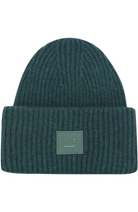Шерстяная шапка фактурной вязки с нашивкой на отвороте | Фото №1