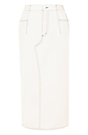 Джинсовая юбка-карандаш со шнуровкой | Фото №1