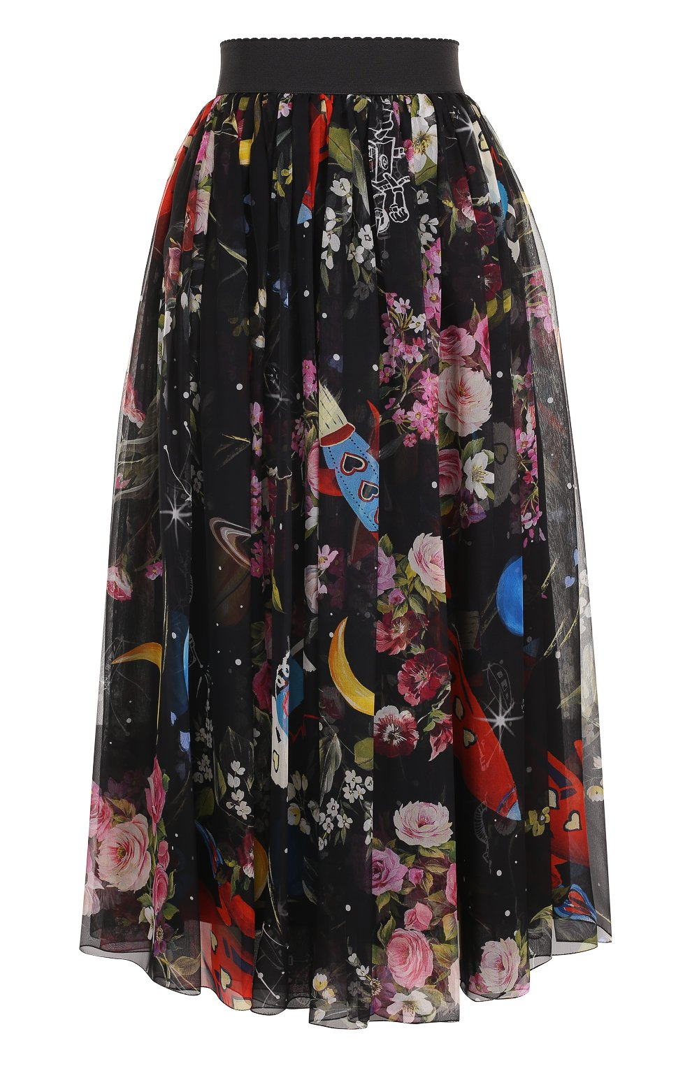 Шелковая юбка-миди с принтом и эластичным поясом   Фото №1