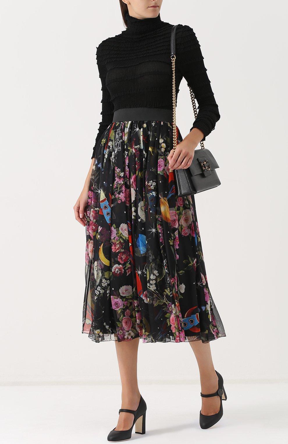 Шелковая юбка-миди с принтом и эластичным поясом Dolce & Gabbana разноцветная   Фото №2