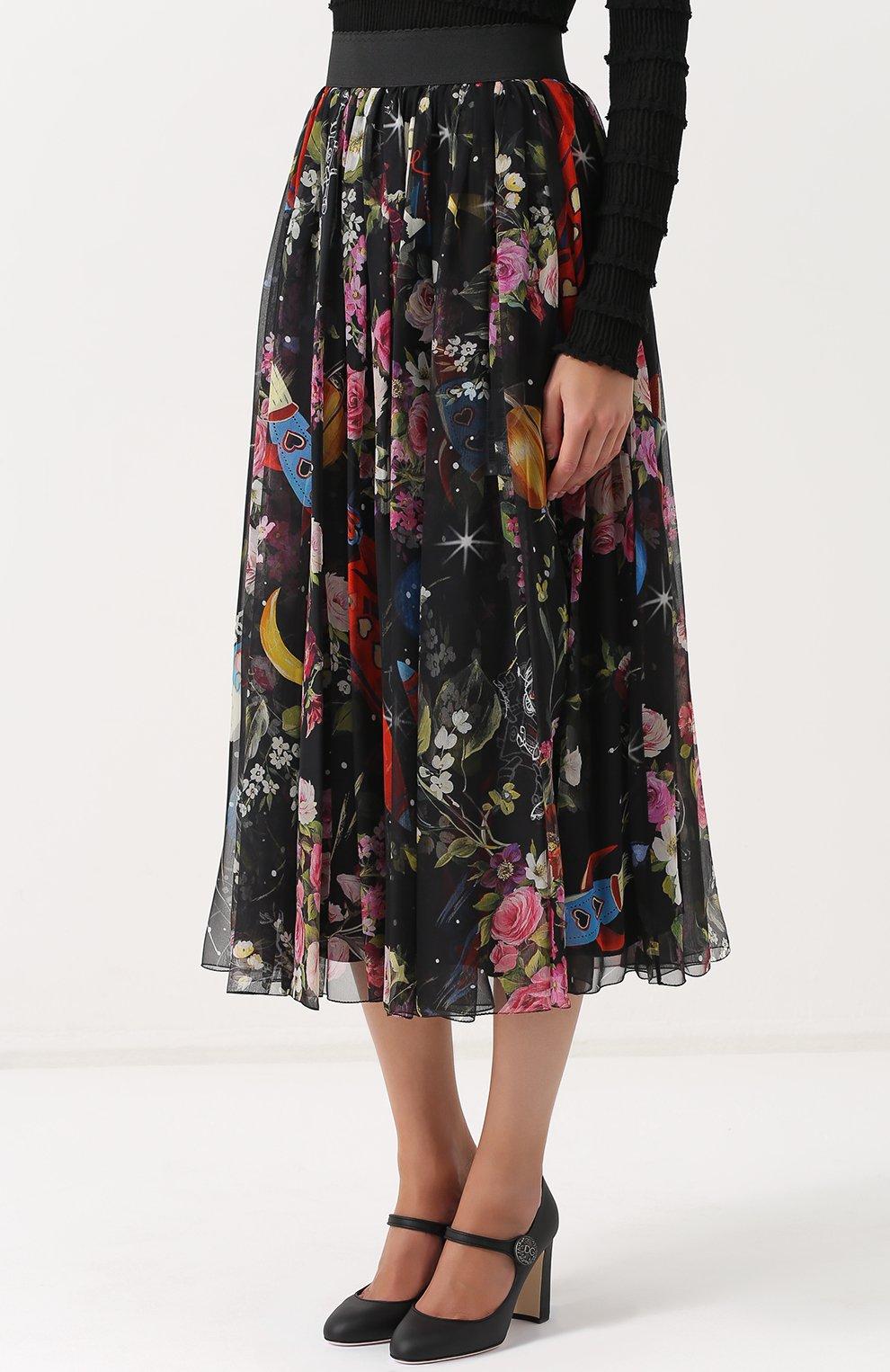Шелковая юбка-миди с принтом и эластичным поясом Dolce & Gabbana разноцветная   Фото №3