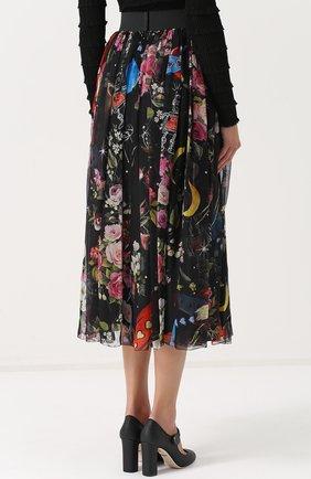 Шелковая юбка-миди с принтом и эластичным поясом Dolce & Gabbana разноцветная   Фото №4