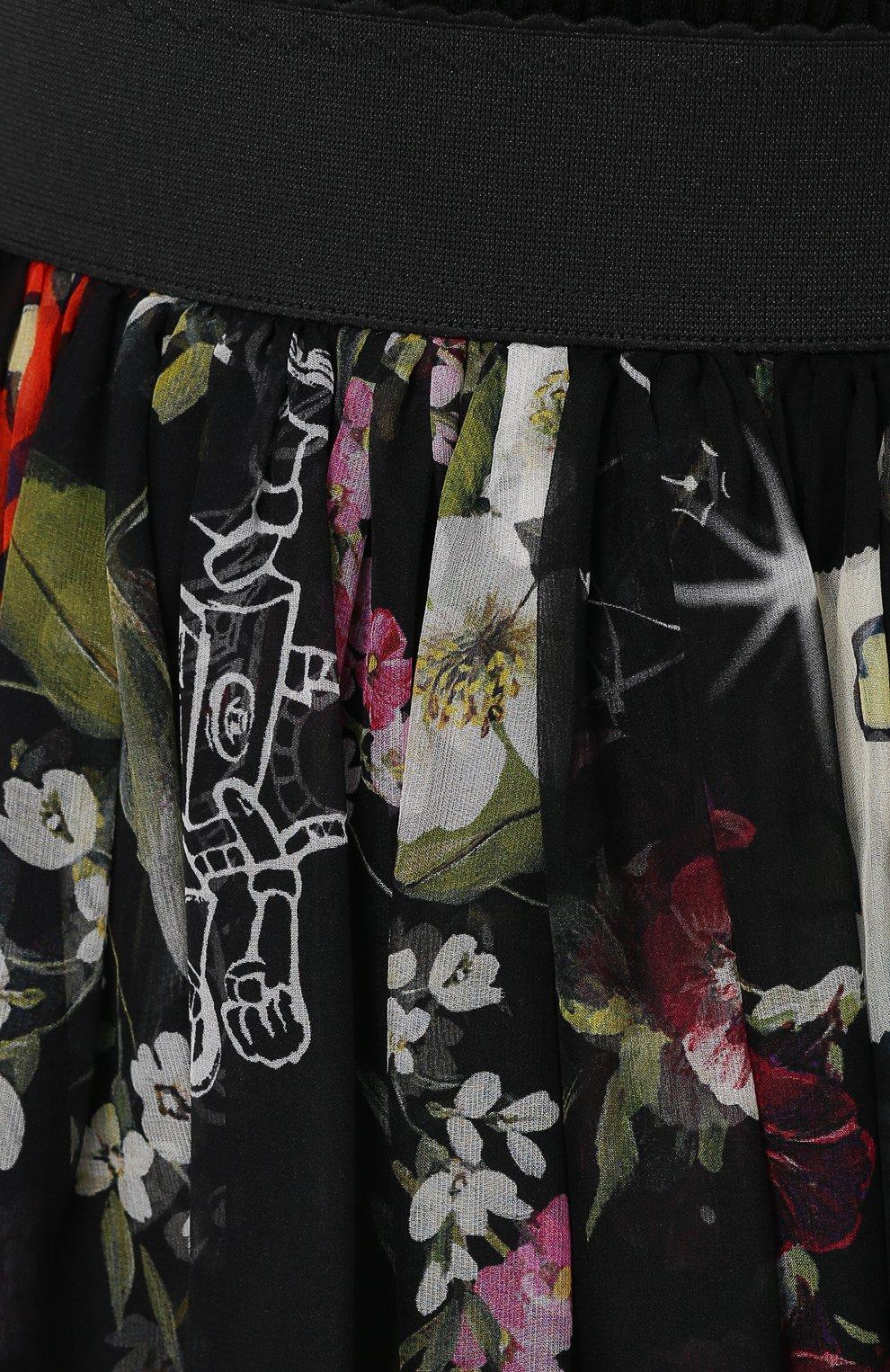 Шелковая юбка-миди с принтом и эластичным поясом Dolce & Gabbana разноцветная   Фото №5