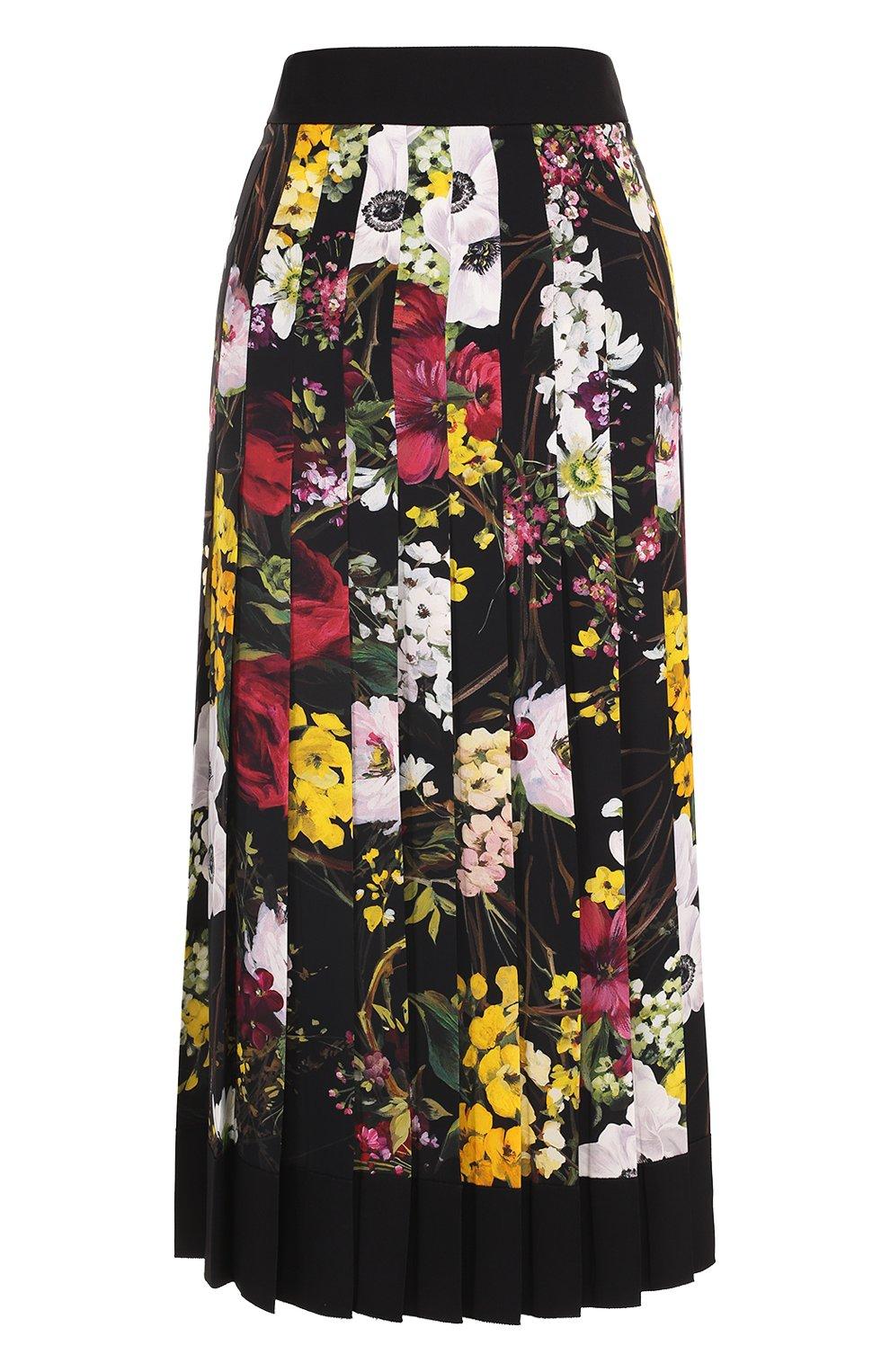 Плиссированная юбка-миди с принтом   Фото №1
