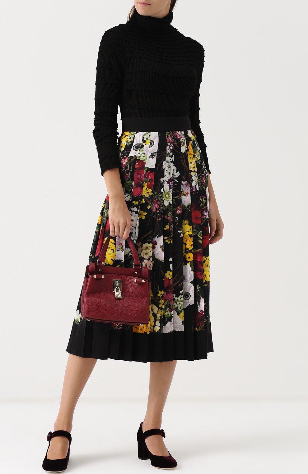 Плиссированная юбка-миди с принтом Dolce & Gabbana разноцветная   Фото №2