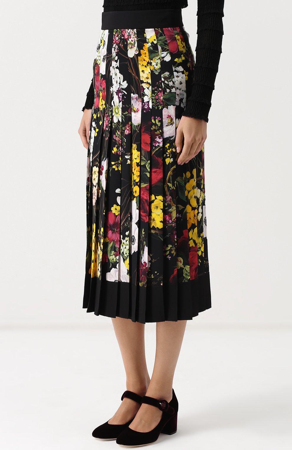 Плиссированная юбка-миди с принтом Dolce & Gabbana разноцветная   Фото №3