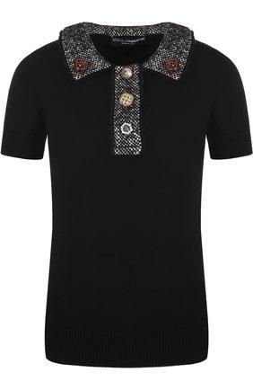Кашемировый топ с коротким рукавом и декоративной отделкой Dolce & Gabbana черный   Фото №1
