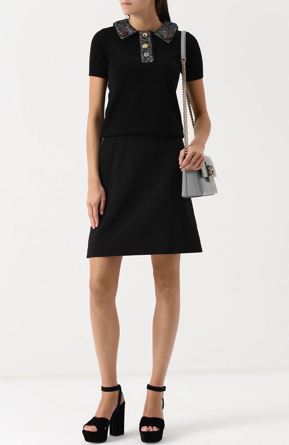 Кашемировый топ с коротким рукавом и декоративной отделкой Dolce & Gabbana черный   Фото №2