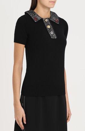 Кашемировый топ с коротким рукавом и декоративной отделкой Dolce & Gabbana черный   Фото №3