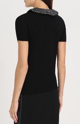 Кашемировый топ с коротким рукавом и декоративной отделкой Dolce & Gabbana черный   Фото №4