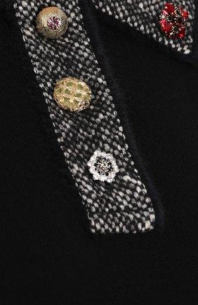 Кашемировый топ с коротким рукавом и декоративной отделкой Dolce & Gabbana черный   Фото №5