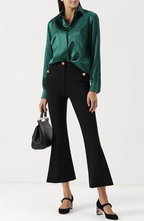 Укороченные расклешенные брюки Dolce & Gabbana черные | Фото №2