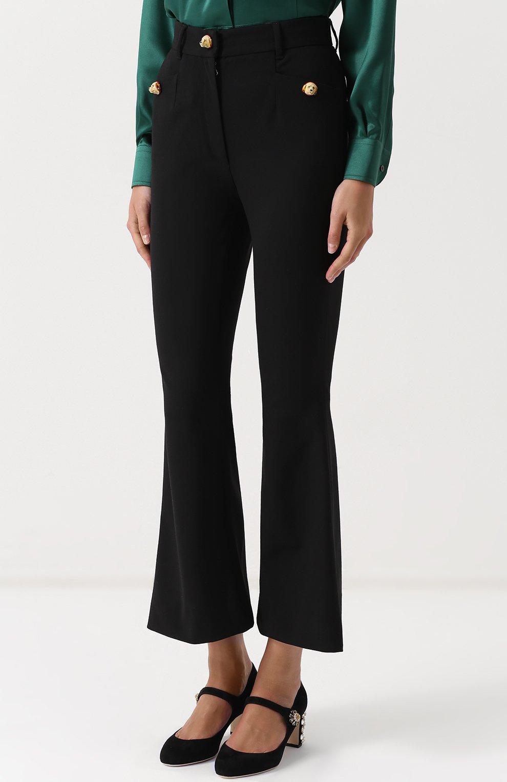 Укороченные расклешенные брюки Dolce & Gabbana черные | Фото №3