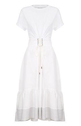 Хлопковое приталенное платье-миди 3.1 Phillip Lim белое | Фото №1