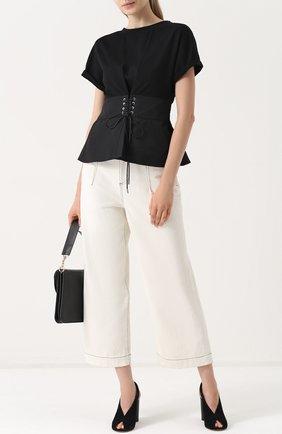 Укороченные широкие джинсы со шнуровкой 3.1 Phillip Lim белые | Фото №1