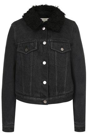 Джинсовая куртка с потертостями 3.1 Phillip Lim черная | Фото №1