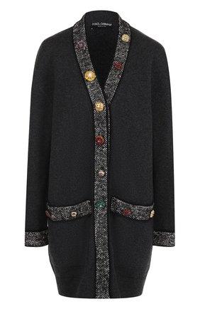 Кашемировый кардиган с декорированными пуговицами Dolce & Gabbana серый | Фото №1