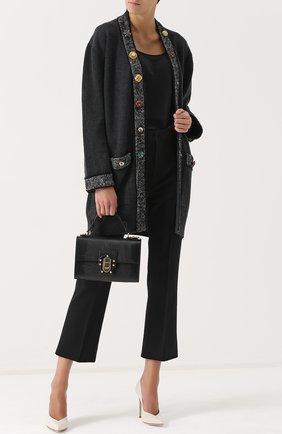 Кашемировый кардиган с декорированными пуговицами Dolce & Gabbana серый | Фото №2