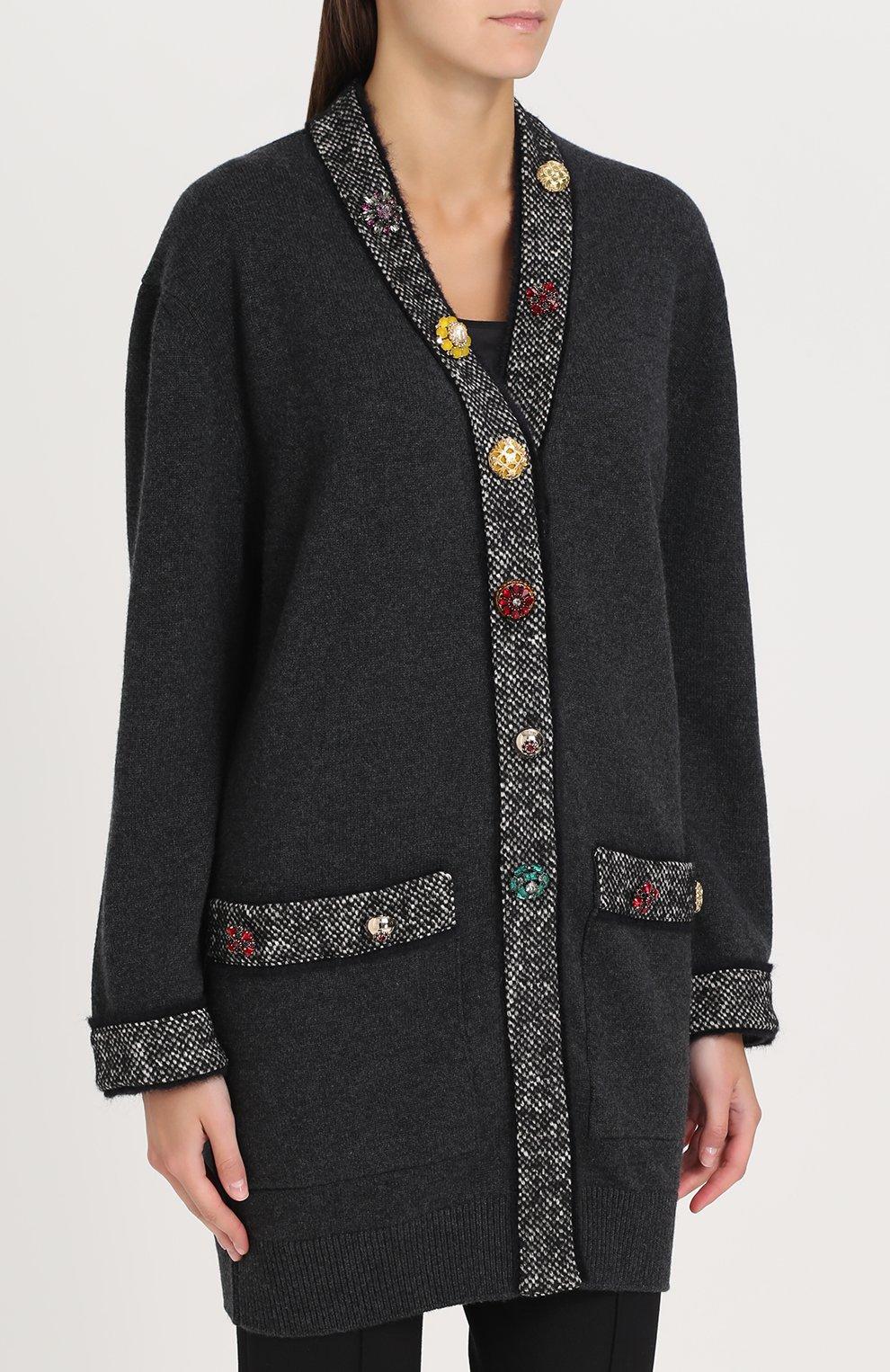 Кашемировый кардиган с декорированными пуговицами Dolce & Gabbana серый | Фото №3