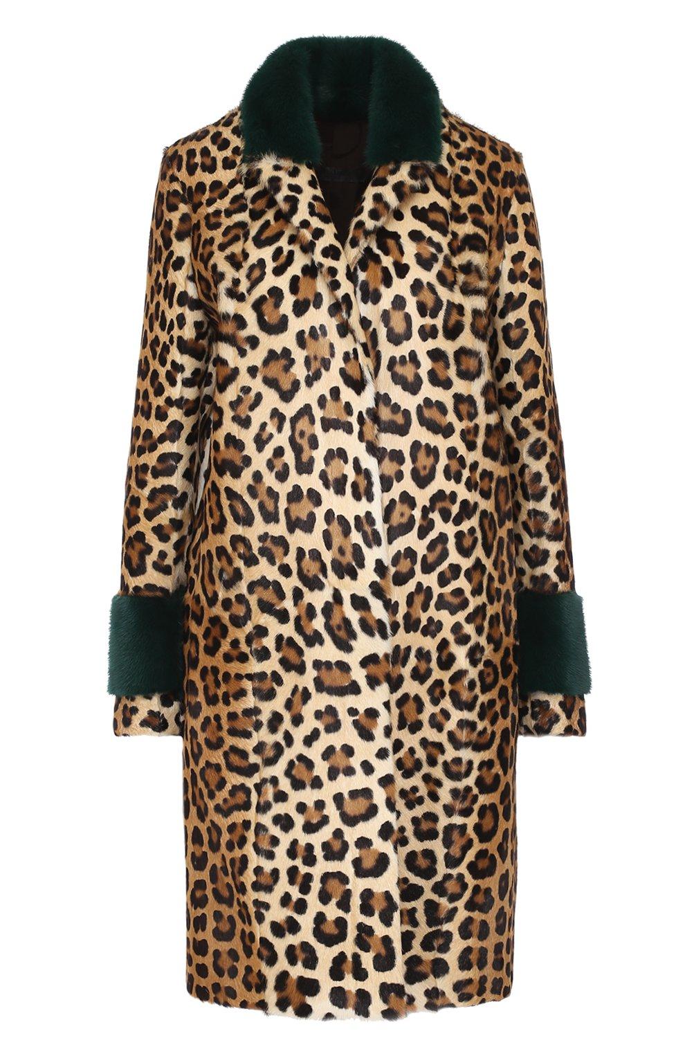 Шуба из меха норки и козлика с леопардовым принтом Simonetta Ravizza леопардовая   Фото №1