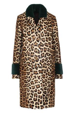 Шуба из меха норки и козлика с леопардовым принтом | Фото №1
