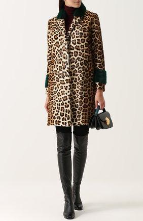 Шуба из меха норки и козлика с леопардовым принтом Simonetta Ravizza леопардовая   Фото №2