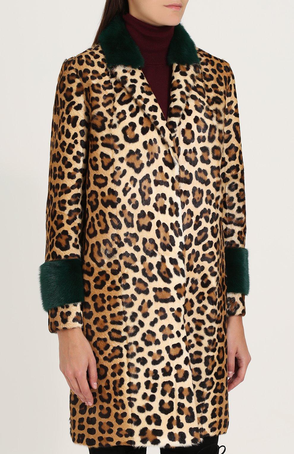 Шуба из меха норки и козлика с леопардовым принтом Simonetta Ravizza леопардовая   Фото №3